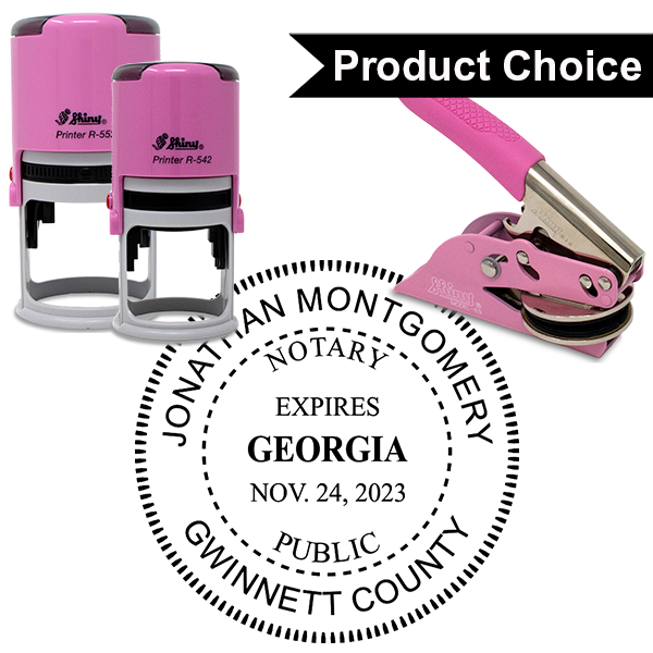 Georgia Notary Pink with Expiration - Round Design