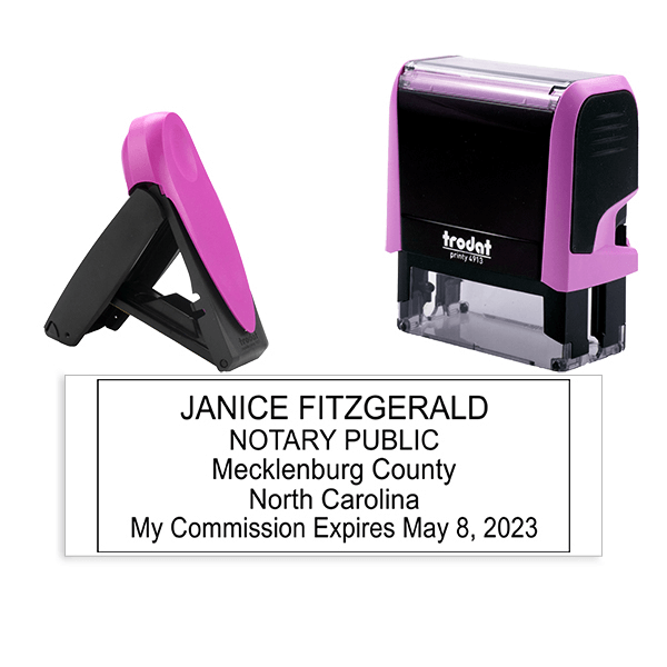 North Carolina Notary Pink Stamp - Rectangle