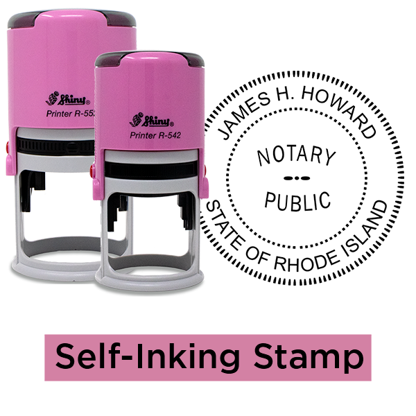 Rhode Island Notary Pink - Round Stamps
