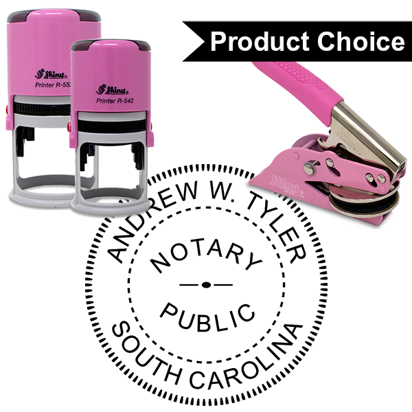South Carolina Notary Pink - Round Design