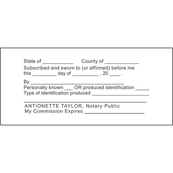 JURAT with Identification Notary Stamp Imprint Example
