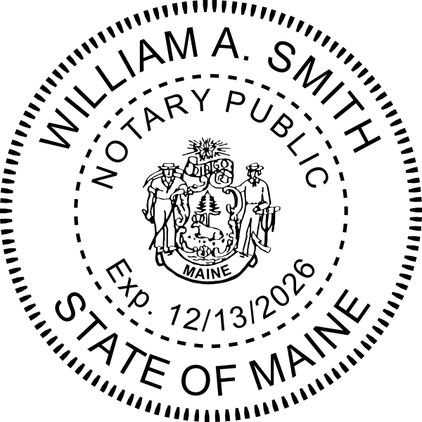 Maine Notary Stamp Round with CREST Imprint Example