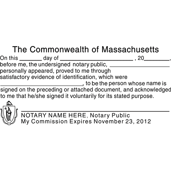 Massachusetts Acknowledgment Notary Stamp All State Notary Supplies