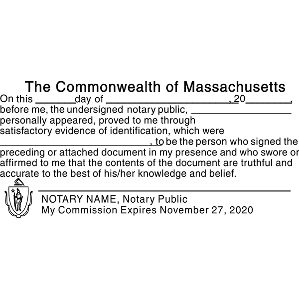 Massachusetts JURAT Notary Stamp Imprint Example