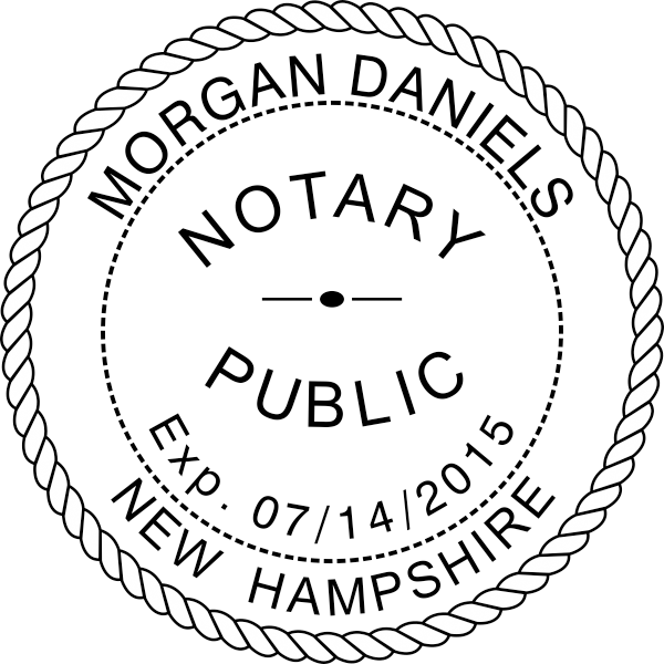 New Hampshire Notary Stamp - Round with Expiration Date Imprint Example