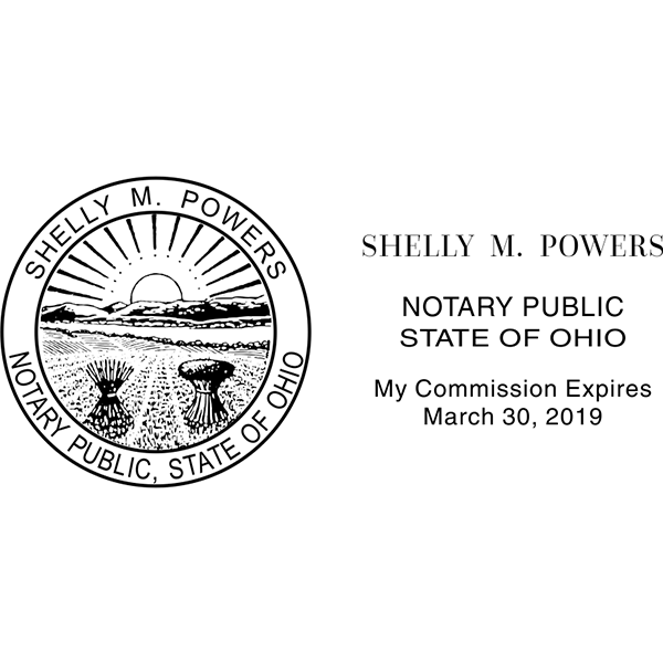 Ohio Notary Stamp - Rectangle Imprint Example