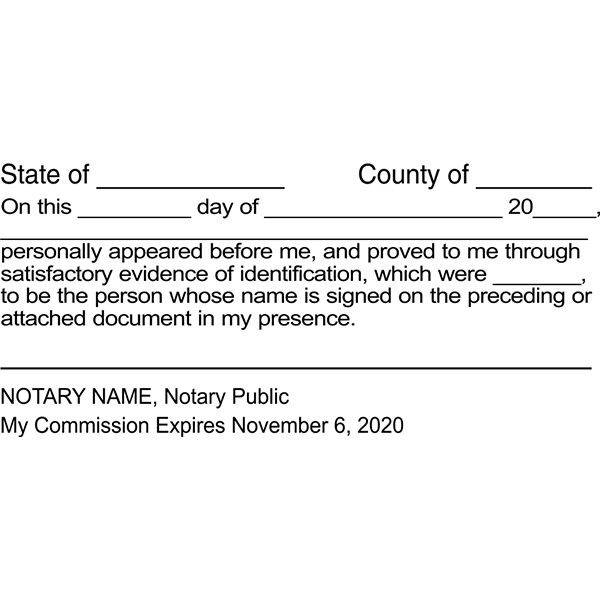 Signature Witness Notary Stamp Imprint Example