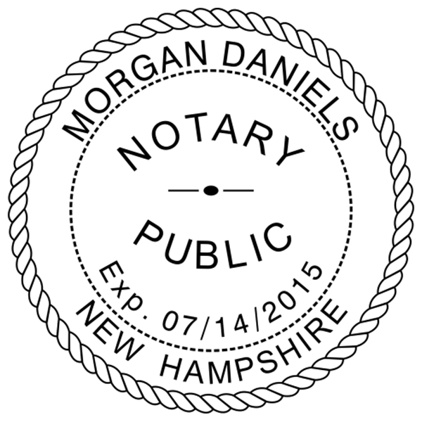 New Hampshire Notary Pink Stamp - Round Design Imprint Example