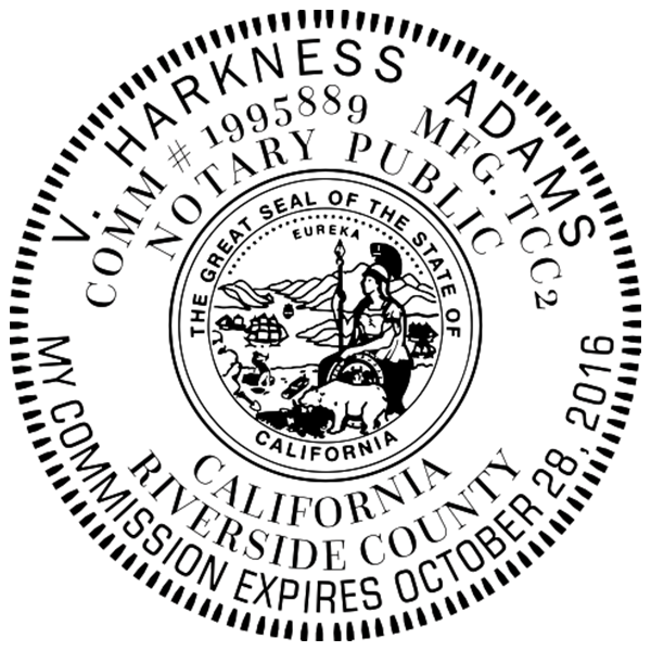 California Notary Pink - Round Design Imprint Example