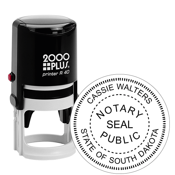 South Dakota Notary with Seal Round Stamp