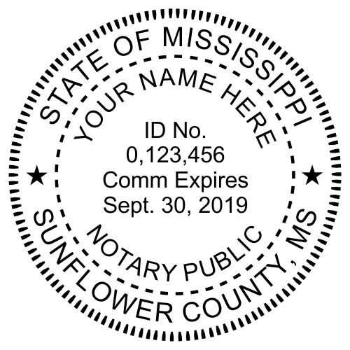 Mississippi Notary Milled Round Stamp