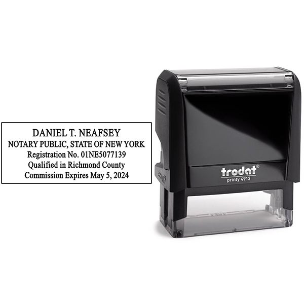 New York Notary Stamp - Rectangle Body and Design