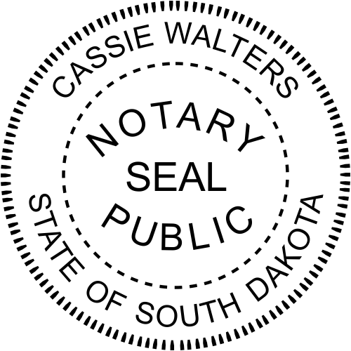 South Dakota Notary Round with Seal Imprint
