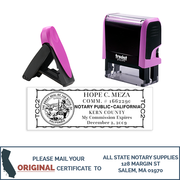 California Notary Pink Stamp - Rectangle