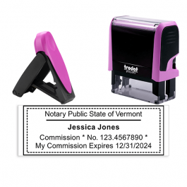 Vermont Notary Pink Stamp - Rectangle