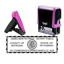 Wyoming Notary Pink Stamp - Rectangle