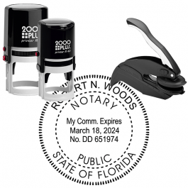 Florida Notary Pink Stamp - Rectangle