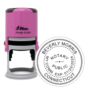 Connecticut Notary Pink Stamp - Round