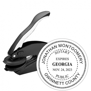 Georgia Notary with Expiration Round Seal Embosser