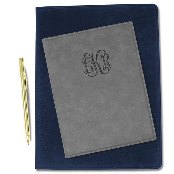 Small Center Monogram Leatherette Portfolio