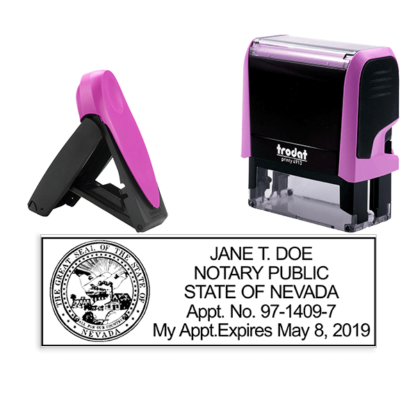 Nevada Notary Pink Stamp - Rectangle