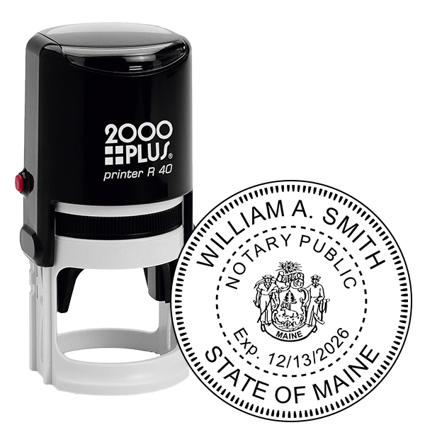 Maine Notary Stamp Round with CREST
