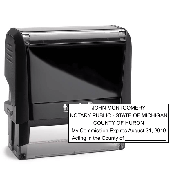 Michigan Notary Pink Stamp - Rectangle