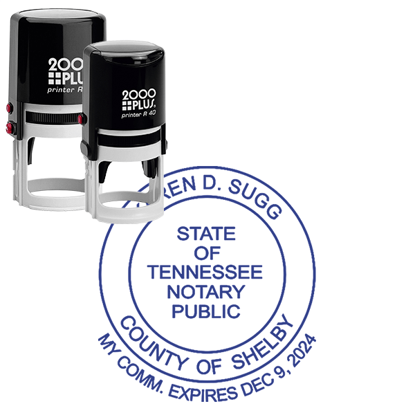 Tennessee Notary Round with Date Below Circle