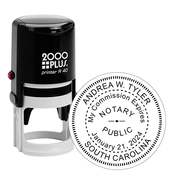 South Carolina Notary With Expiration Date Round Stamp